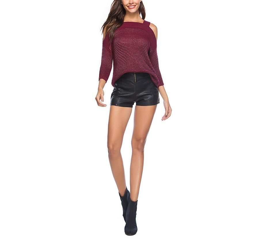 Cold Shoulder Knitted Sweater with ¾ Sleeves