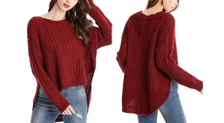 Knit Pullover Sweater in Textured Pattern