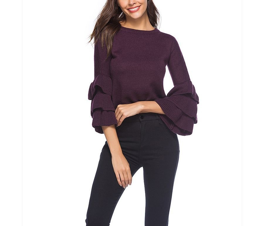 Cropped Sweater with Tiered Ruffle Sleeves