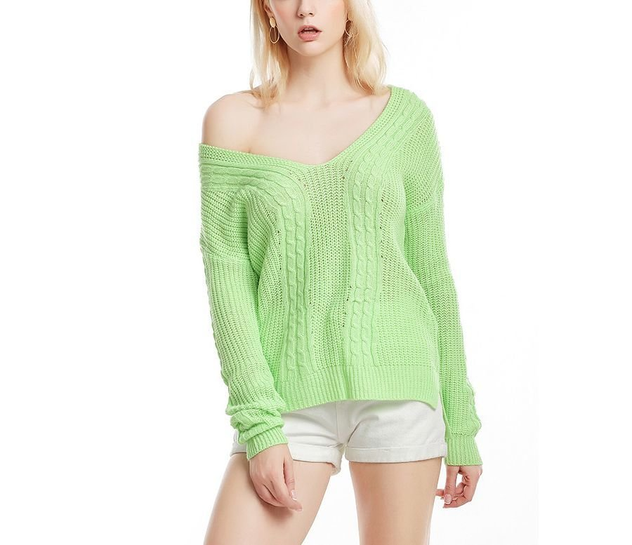 Knitted Sweater with Deep V-Neckline and Cabled Pattern