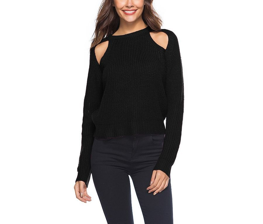 Knit Sweater with Front Shoulder Cutouts