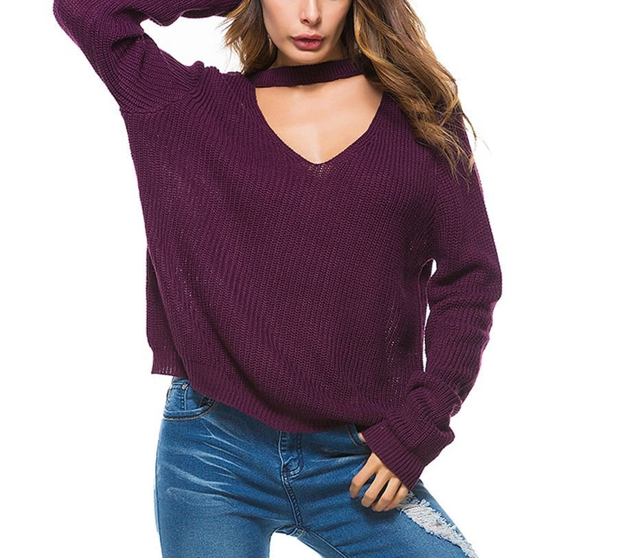 Oversize Sweater with Plunge Neckline and Band Collar