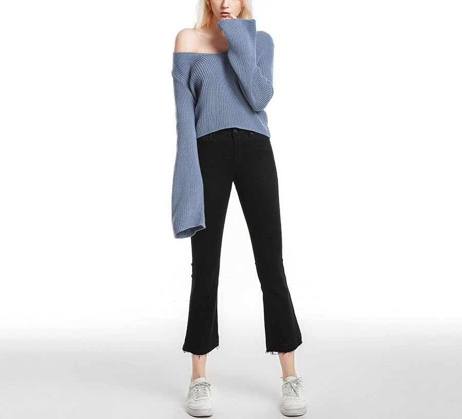 Knitted Sweater with Deep Plunge Neck and Flared Sleeves