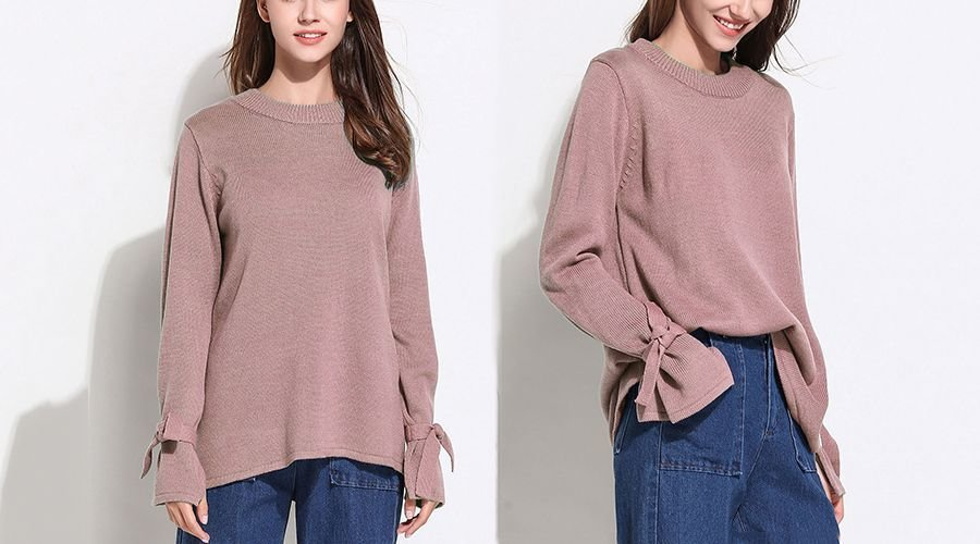 Oversized Knit Sweater with Long Flared Sleeves