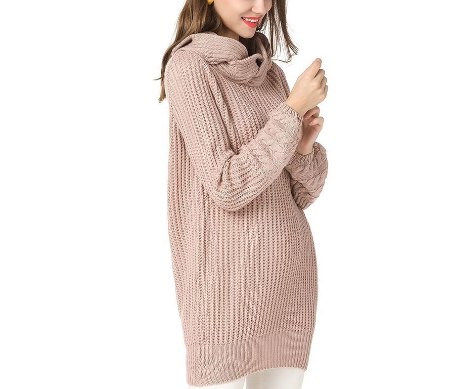 Knitted Tunic Sweater with Twisted Cowl Collar