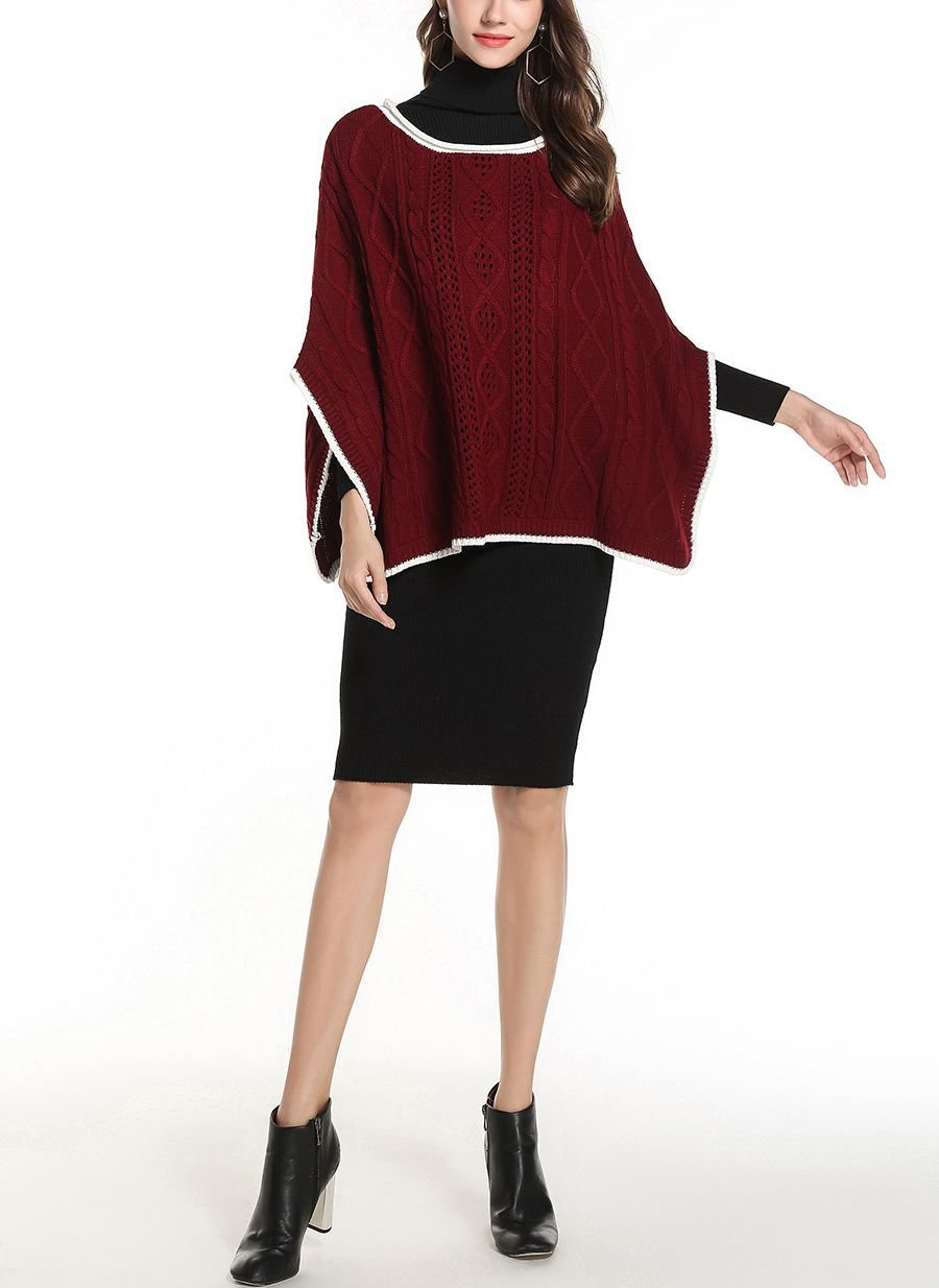 Sweater Knit Poncho with Lace and Cable Stitches