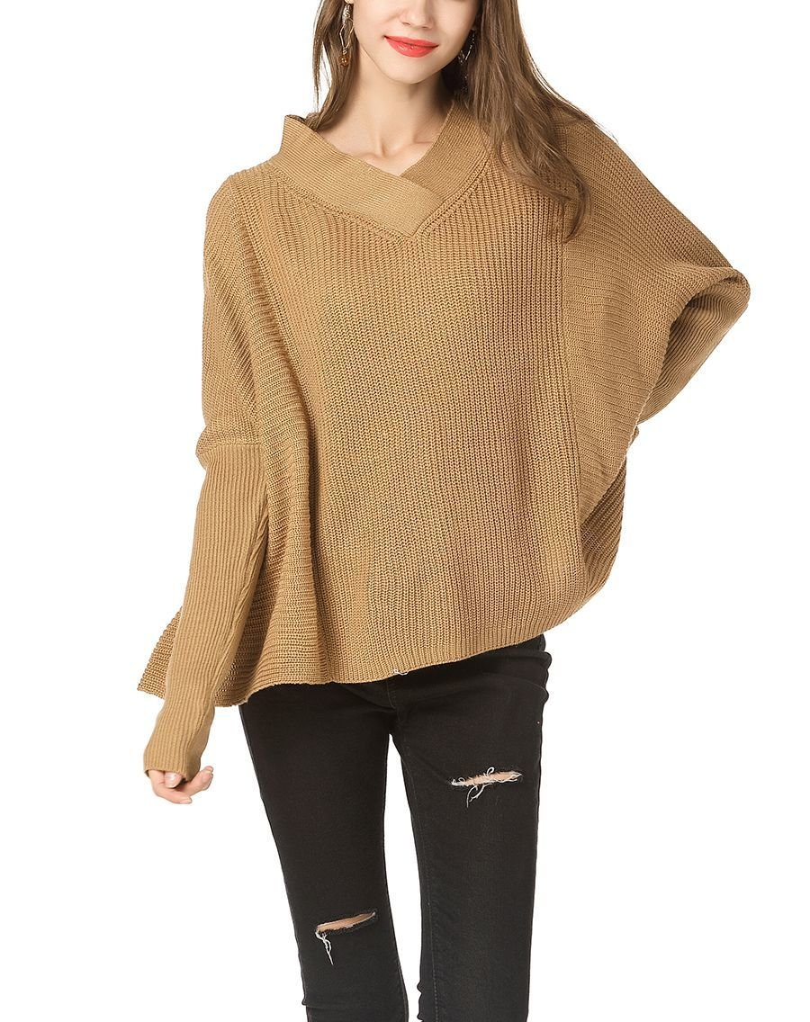 Loose One-Size Sweater with V-Neckline
