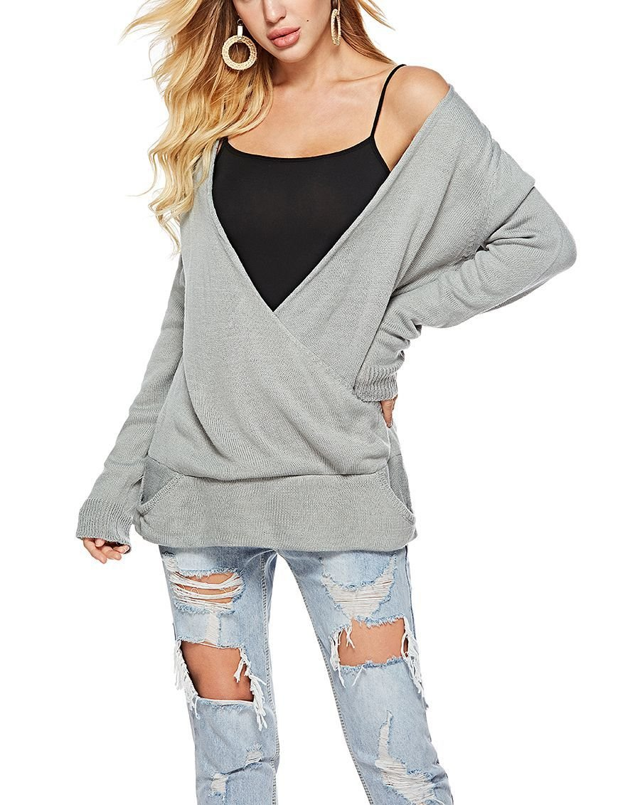 Wrap-Front Tunic Sweater