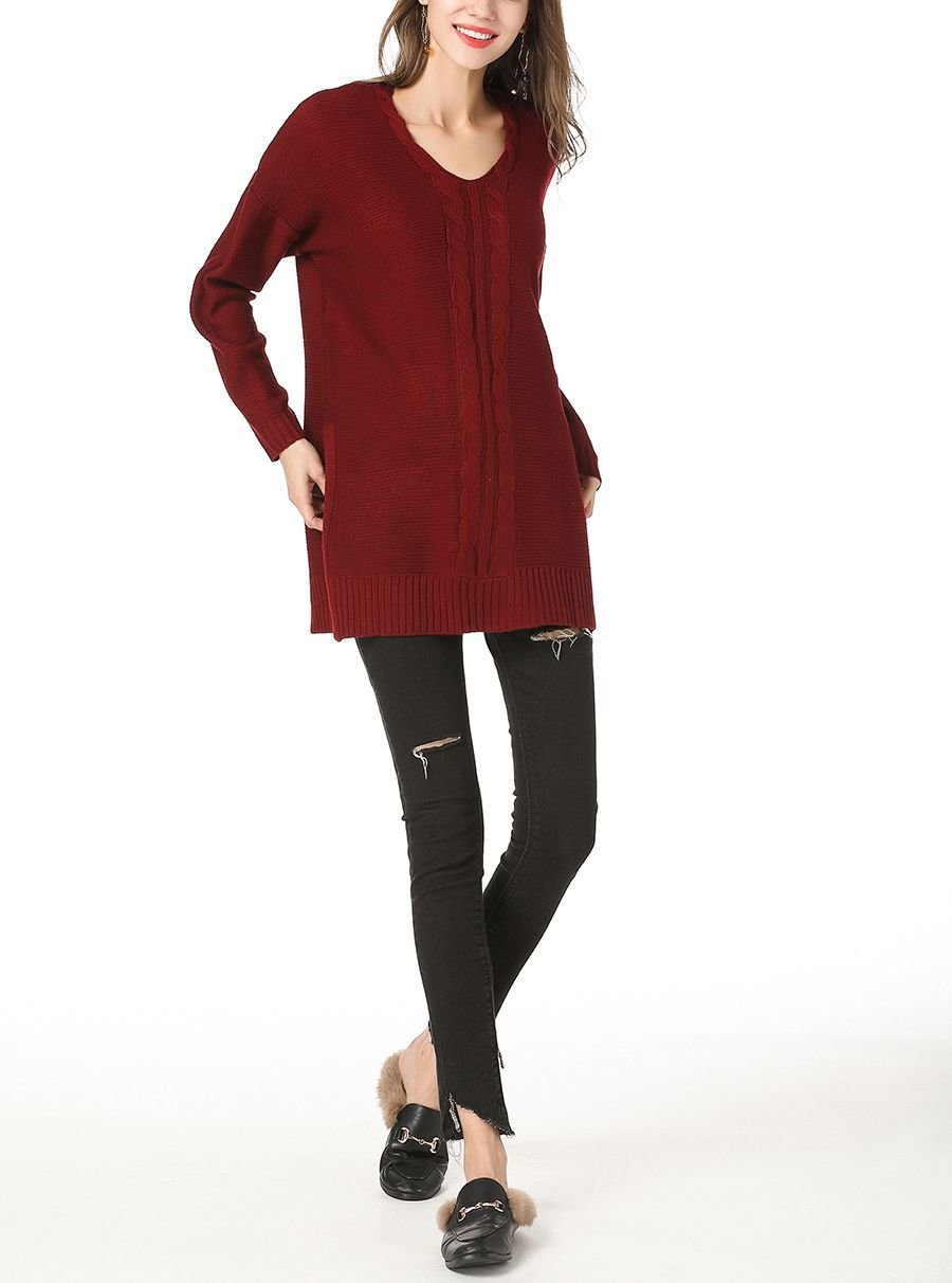 Knitted Tunic Sweater with Side Slits