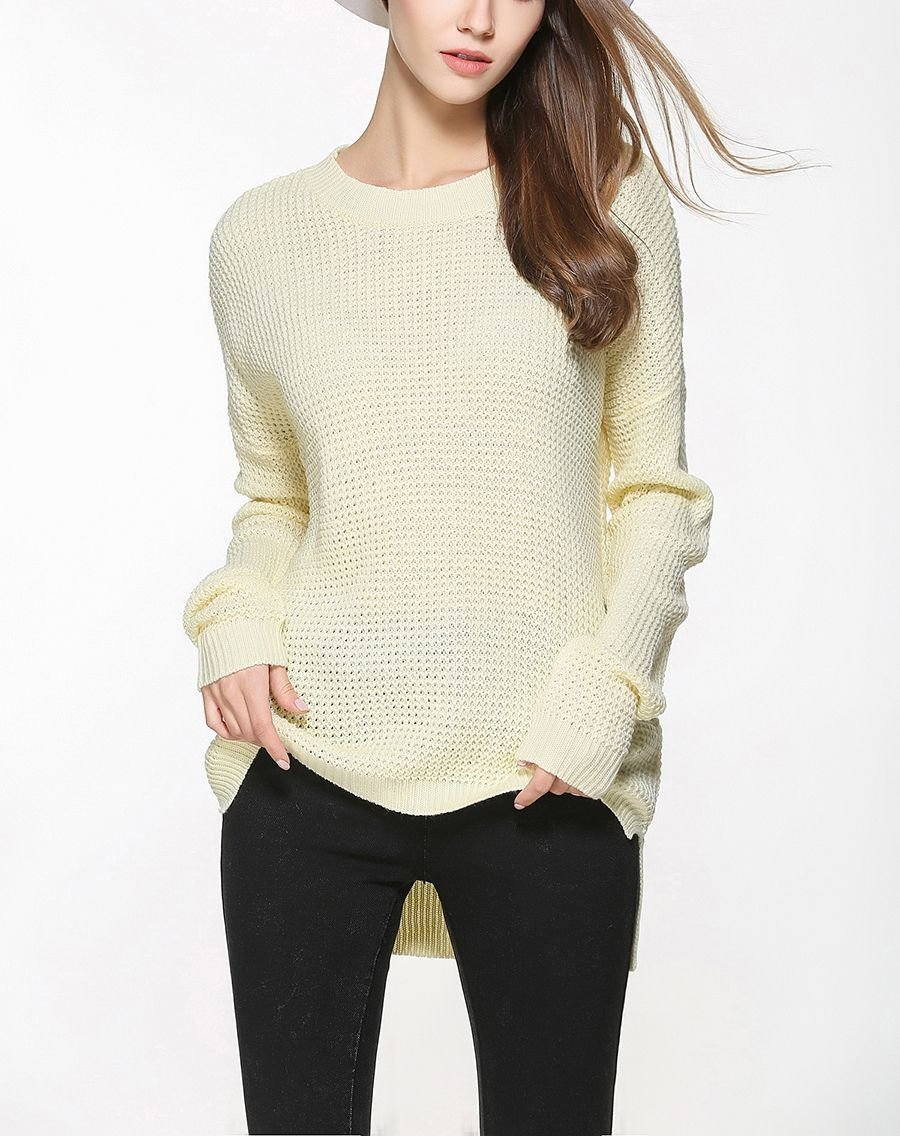 Pullover Sweater with Textured Knit Stitches