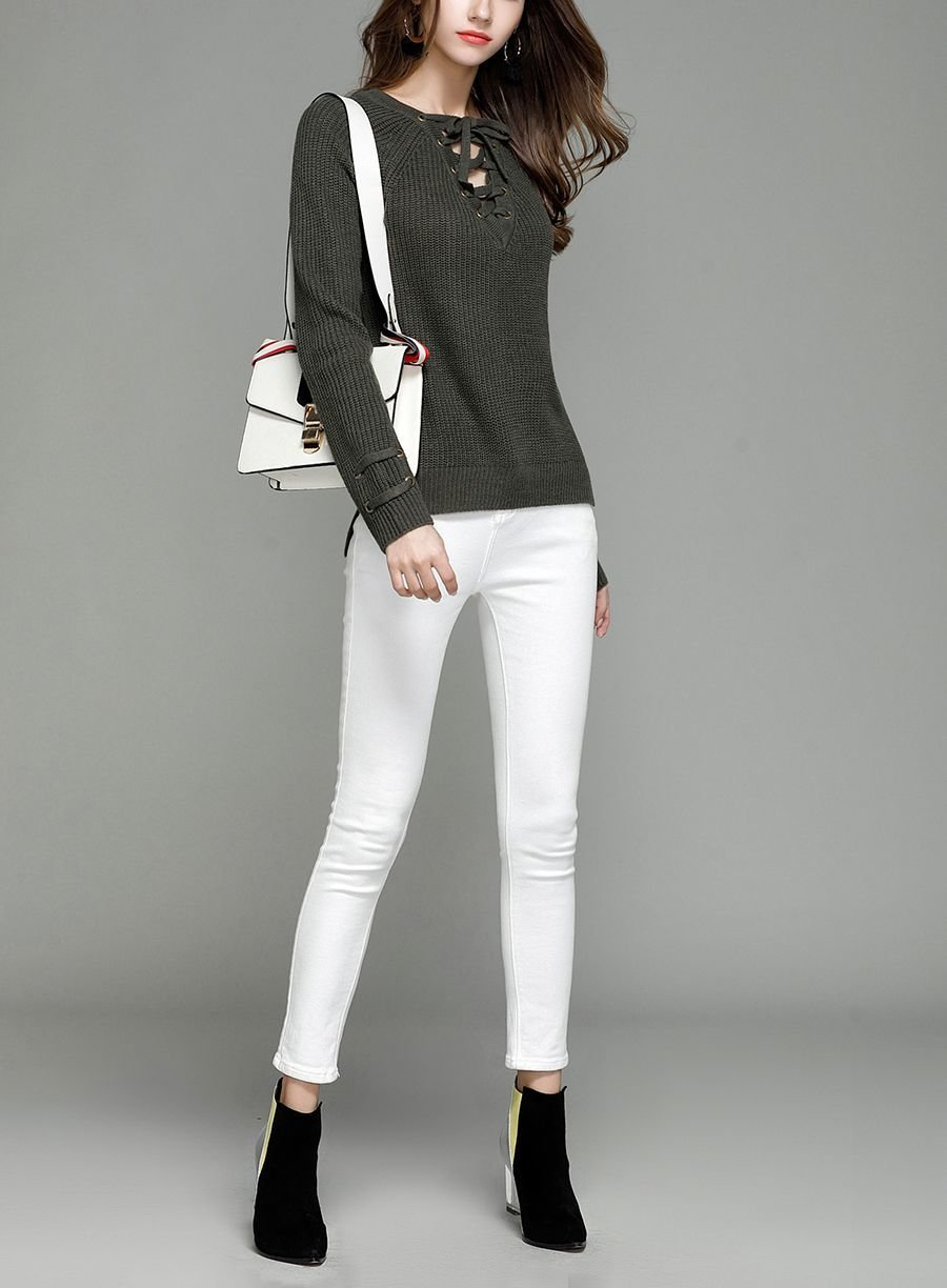 Knitted Sweater with Grommets and Laced Front