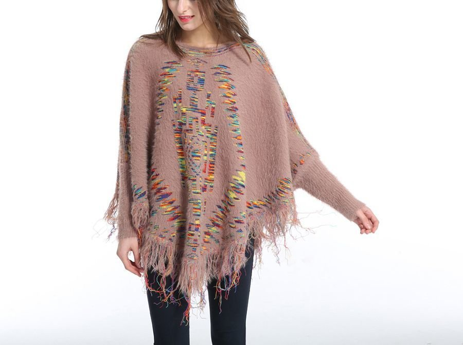 One Size Sweater Knit Poncho with Fringe
