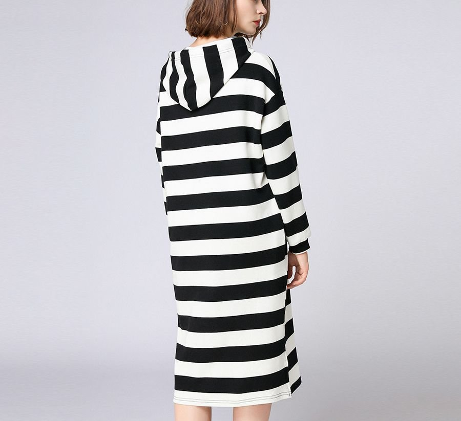 Long Knit Hoodie Top with Wide Stripes