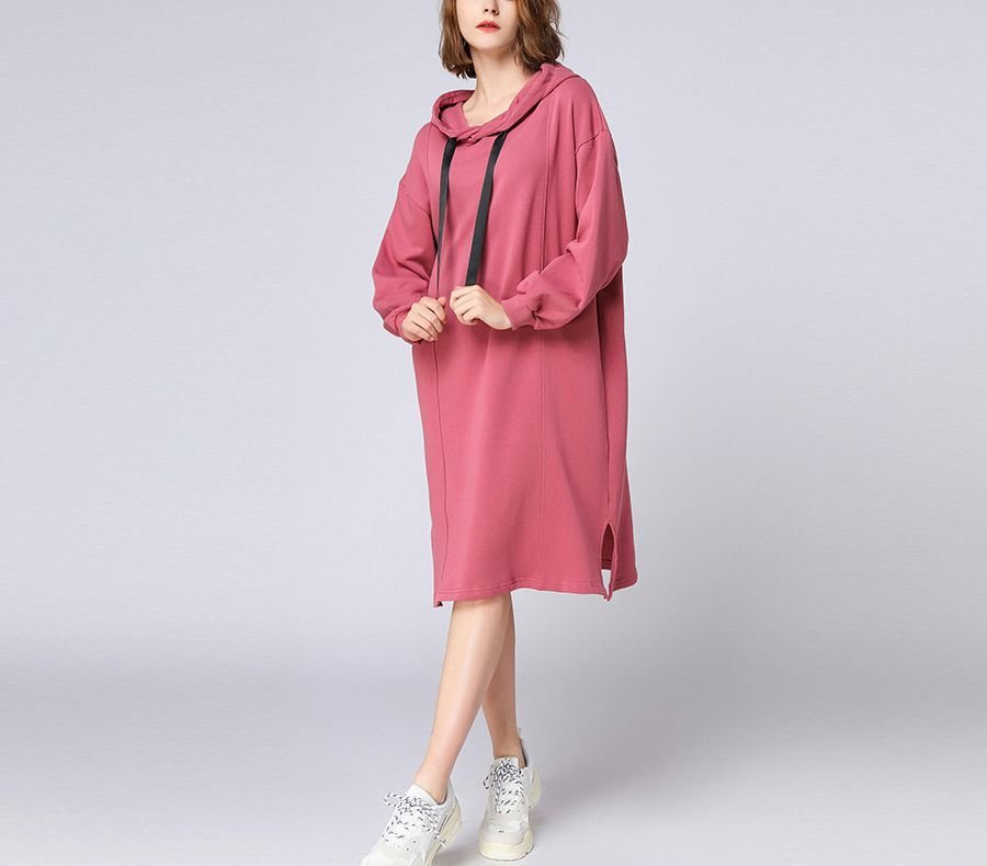 Cotton Hoodie Top in Dress Length