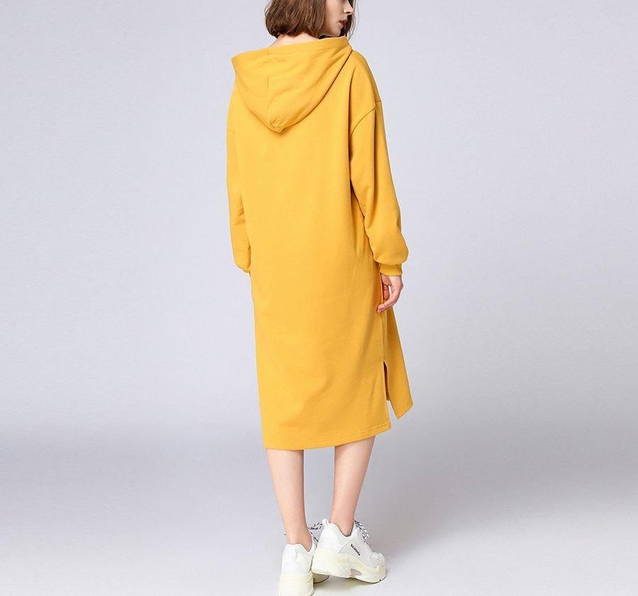 Cotton Hoodie Top in Dress Length