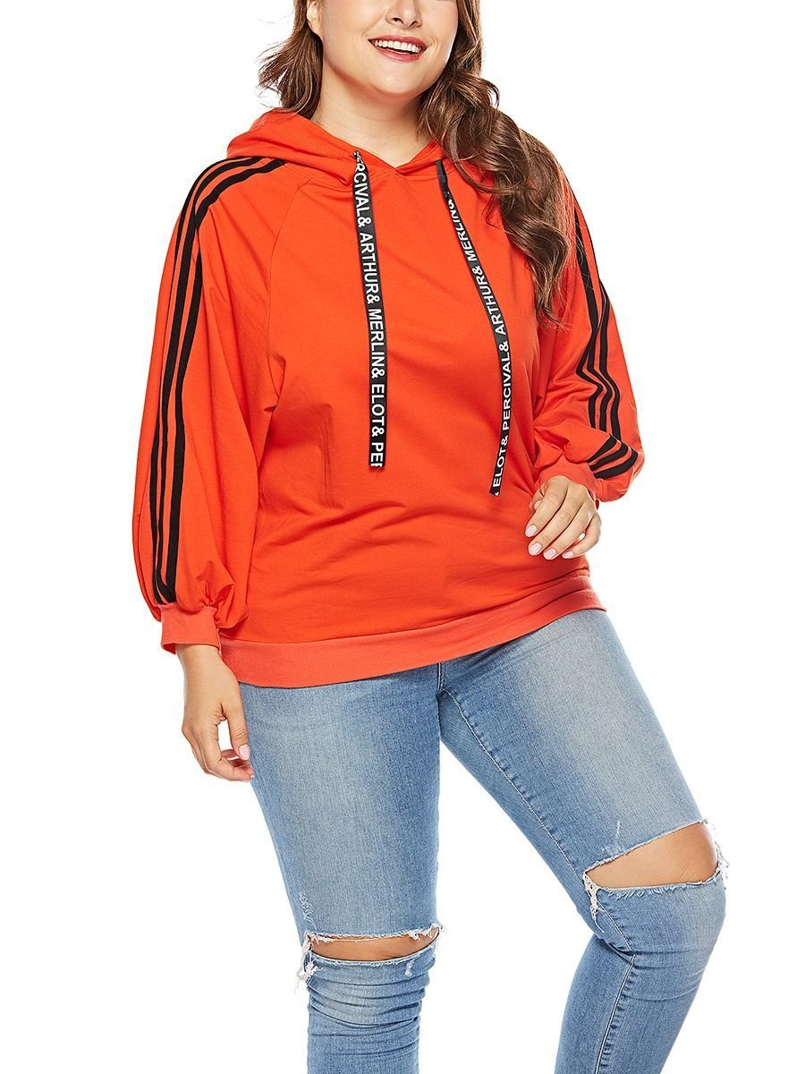 Large Size Top with Sporty Stripes Down Sleeves