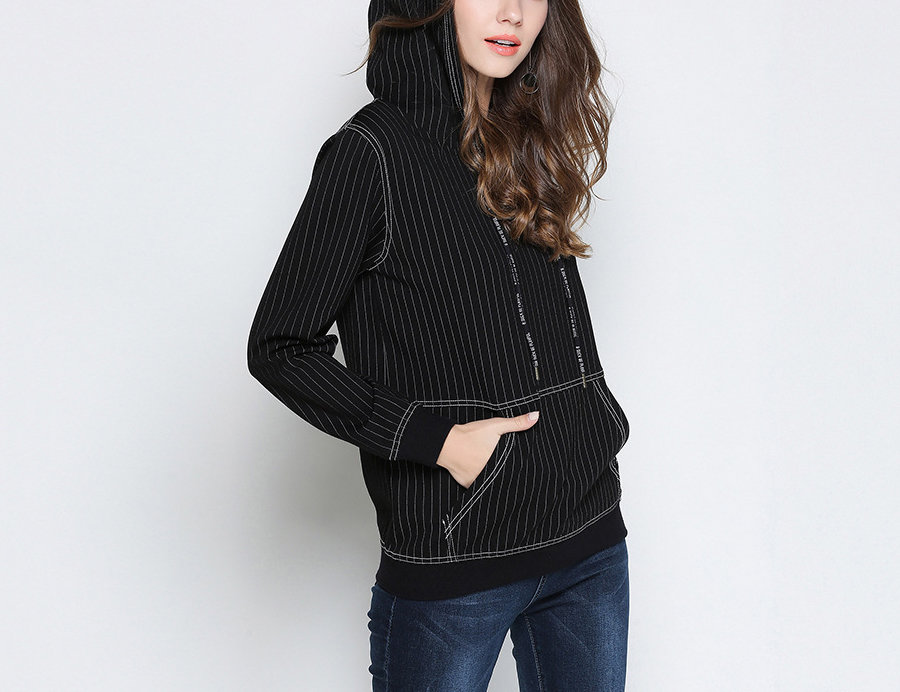 Pinstriped Hoodie Top in Plus Sizes