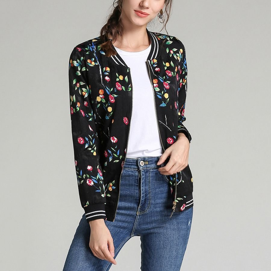 Zip Front Top in Floral Print Fabric