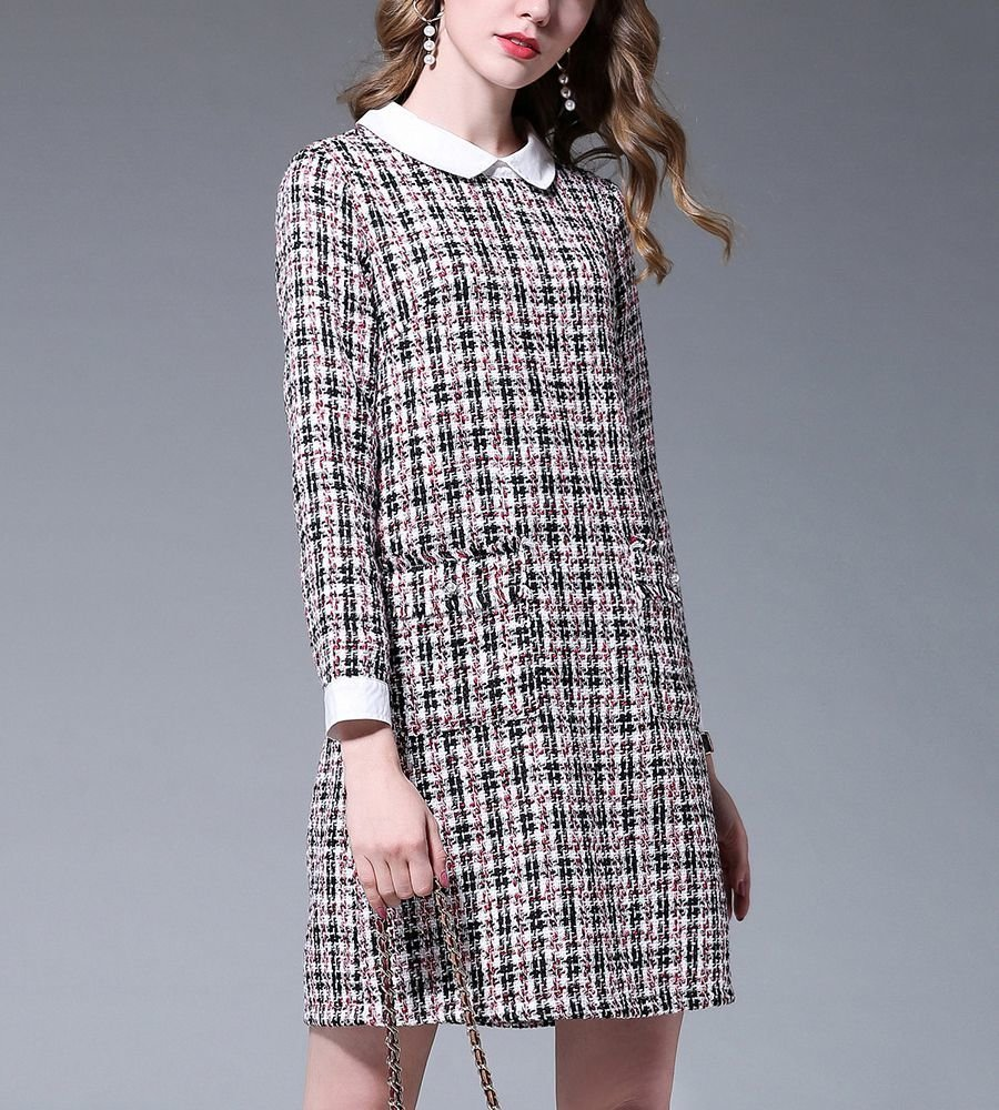 Plaid A-line Work Dress with Tailored Details