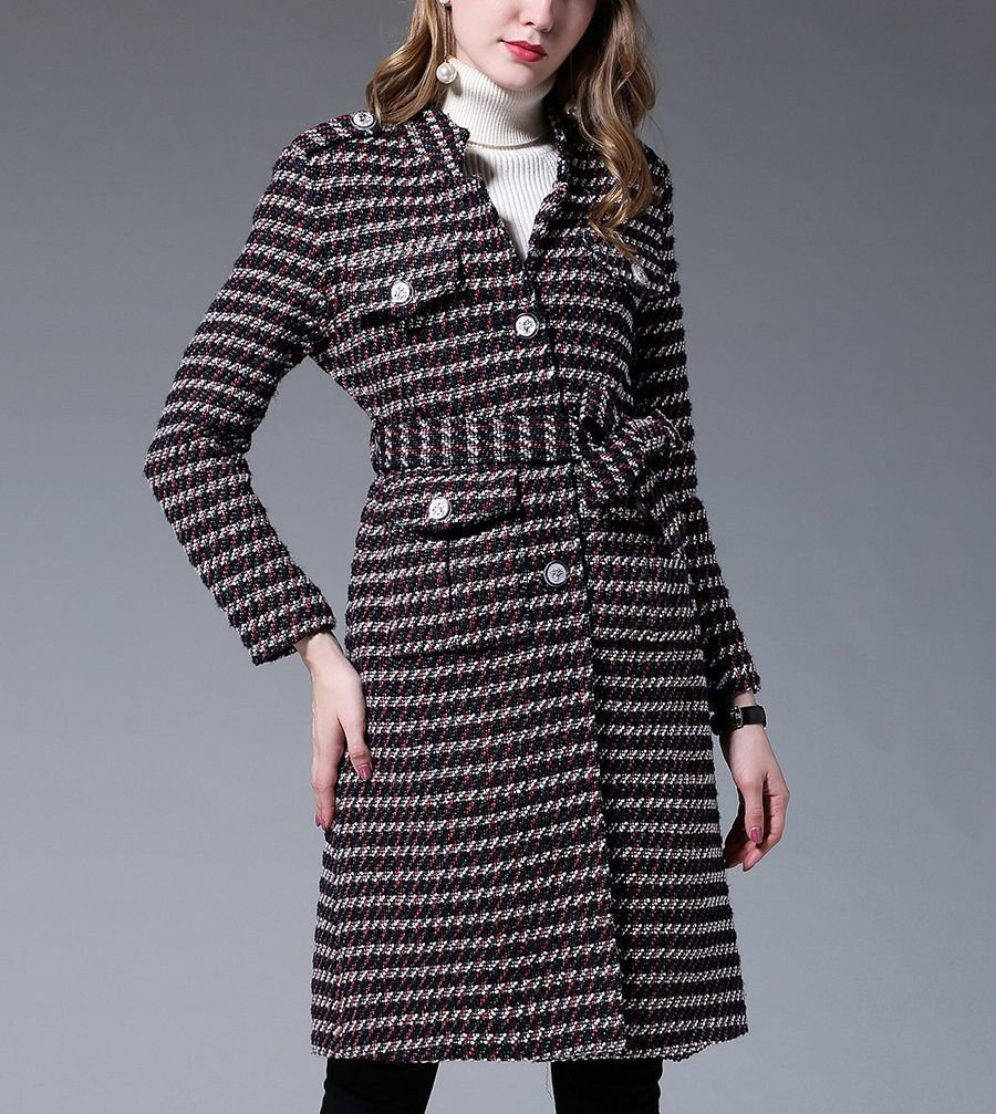 Belted Coat with Tweed Stripes
