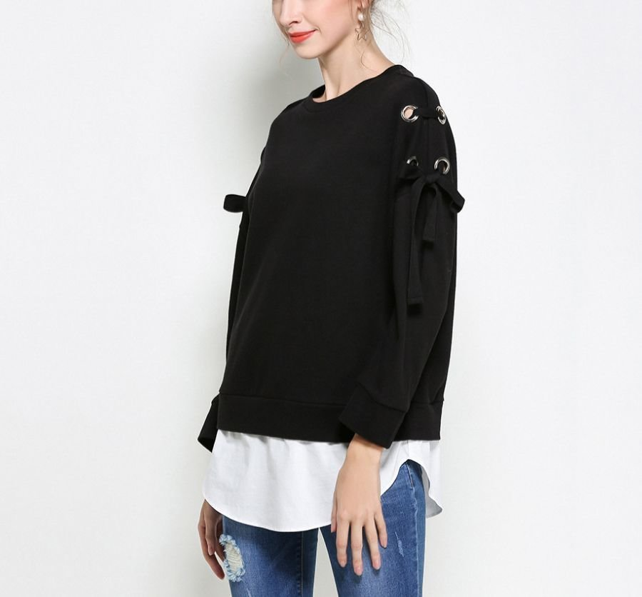 Knit Top with Eyelets and Ties on Shoulders