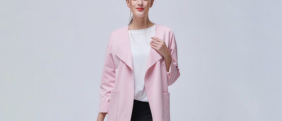 Plus Size Coat with Pointed Lapel and Patch Pockets