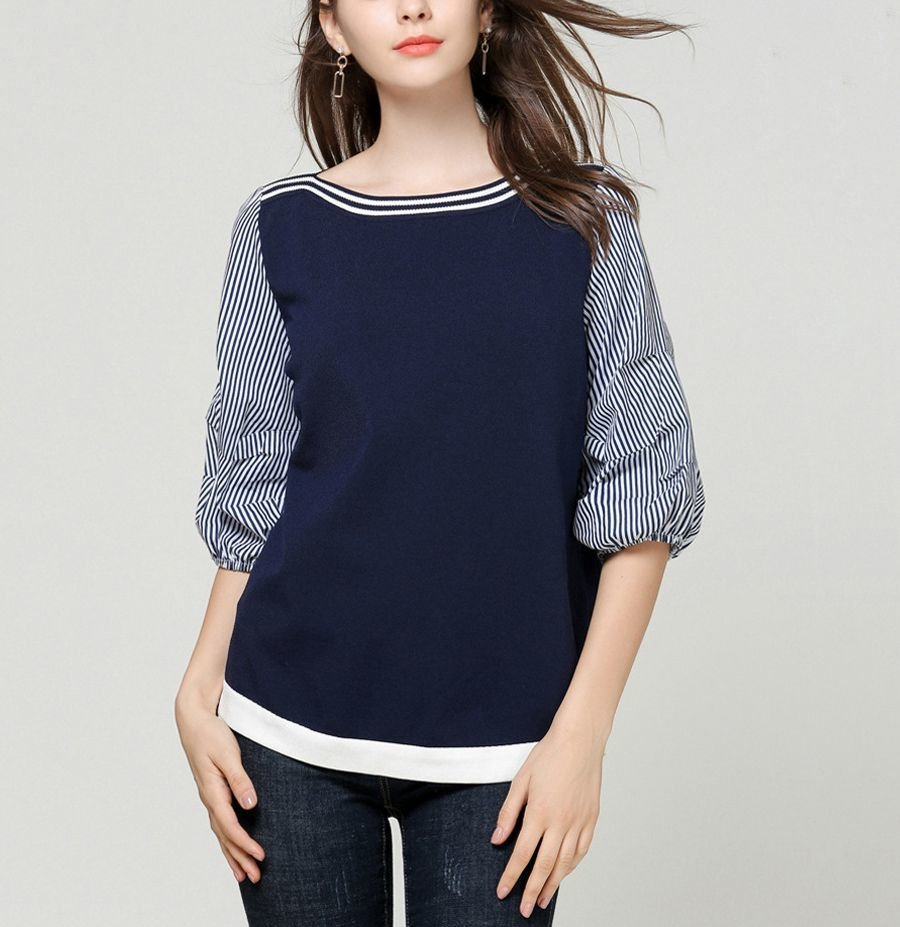 Pullover Top with Gathered Sleeves