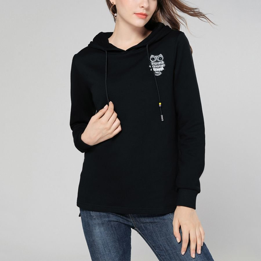 Hoodie Knit Top with Owl Applique