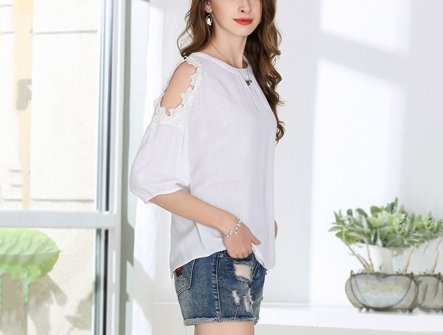 White Cold Shoulder Top with Matching Floral Trim