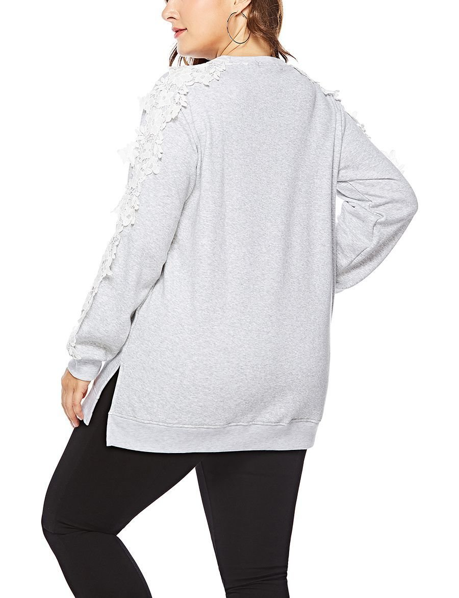 Cotton Blend Top with Floral Lace Sleeve Trim
