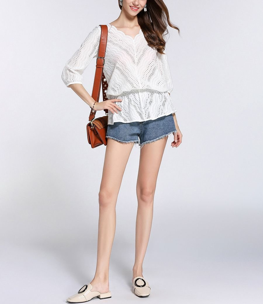 Eyelet Lace Top with Peplum