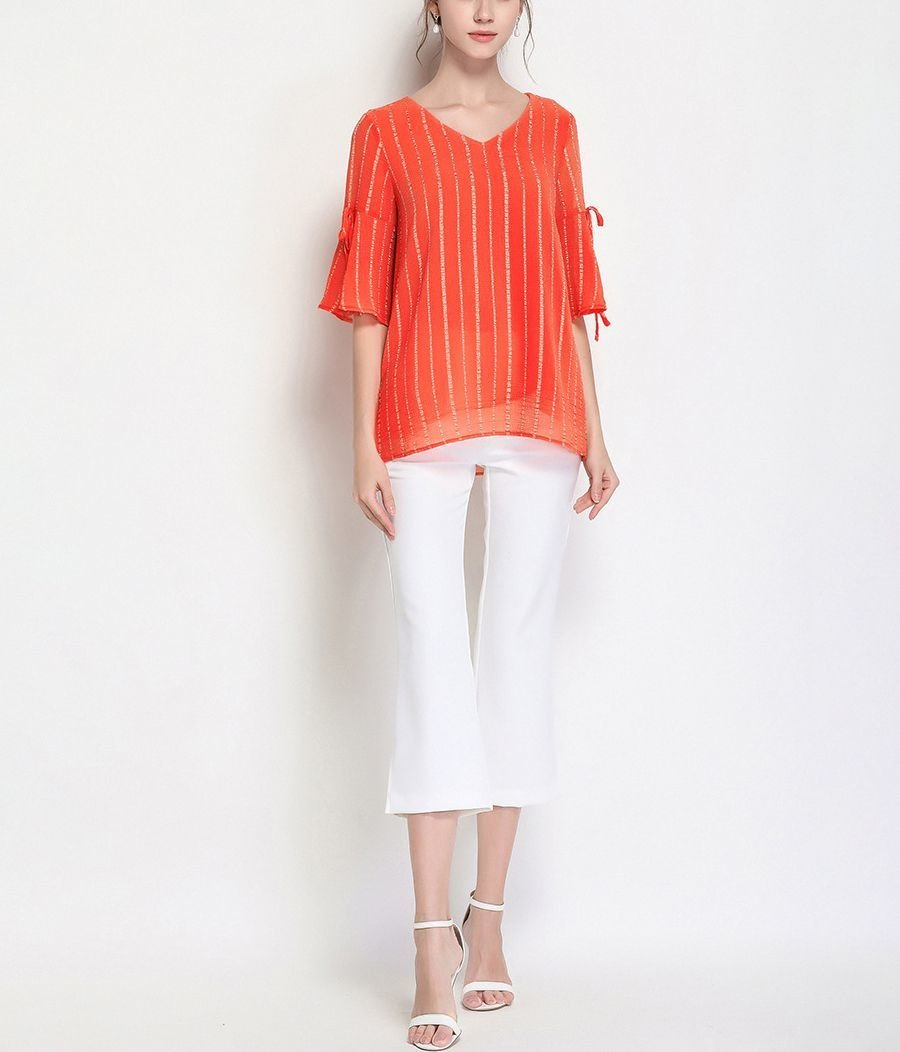 Loose Top in Sheer Fabric with Trumpet Sleeves