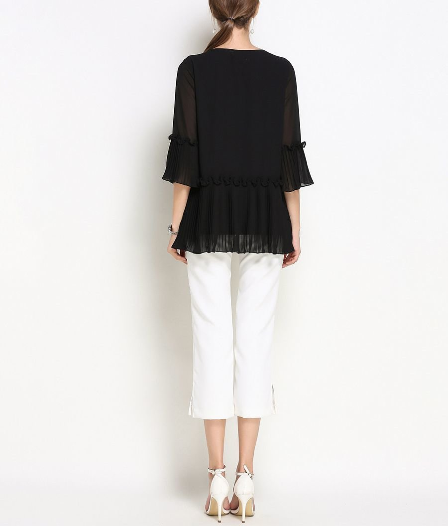 Layered Sheer Top with Trumpet Sleeves