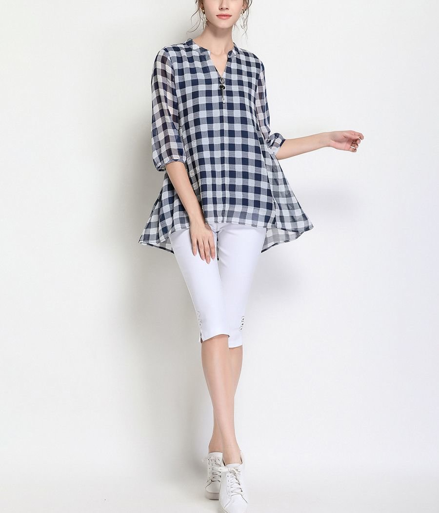 Checked Casual Top with Loose Fit