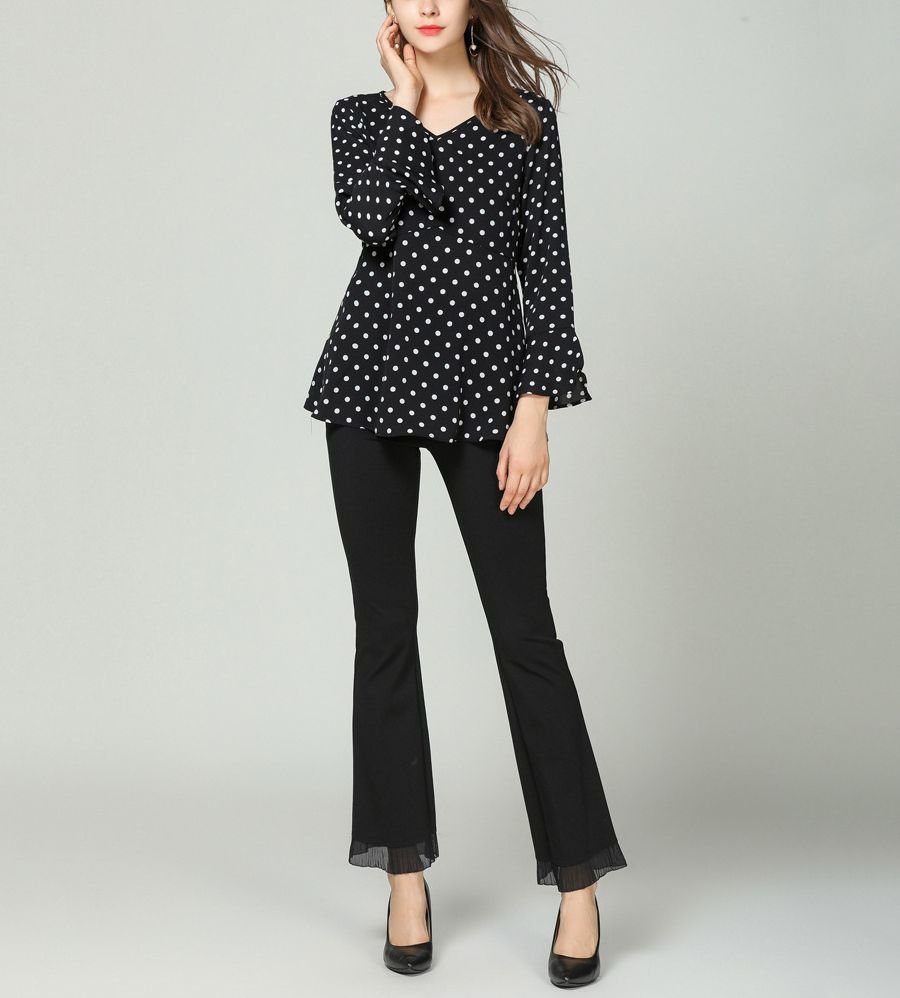 Mid-Weight Chiffon Top with Polka Dots