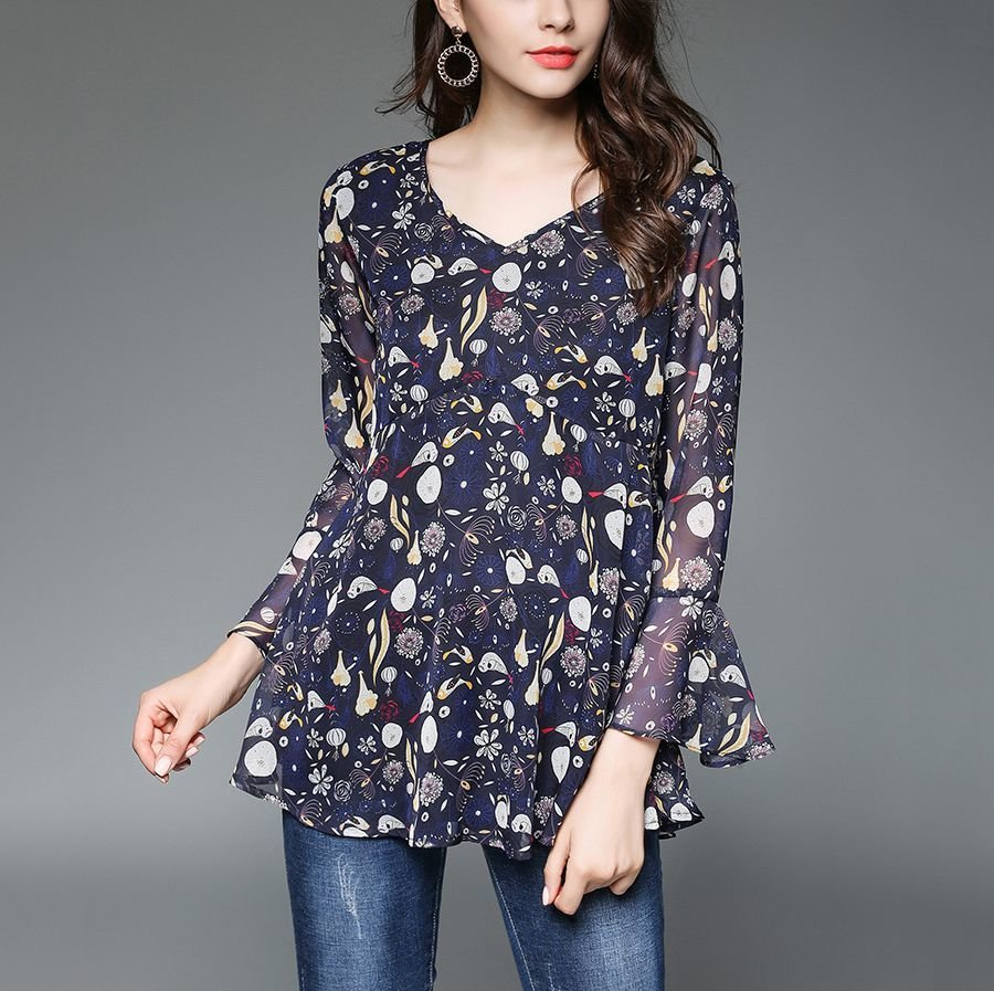 Sheer Floral Chiffon Top with Empire Waist