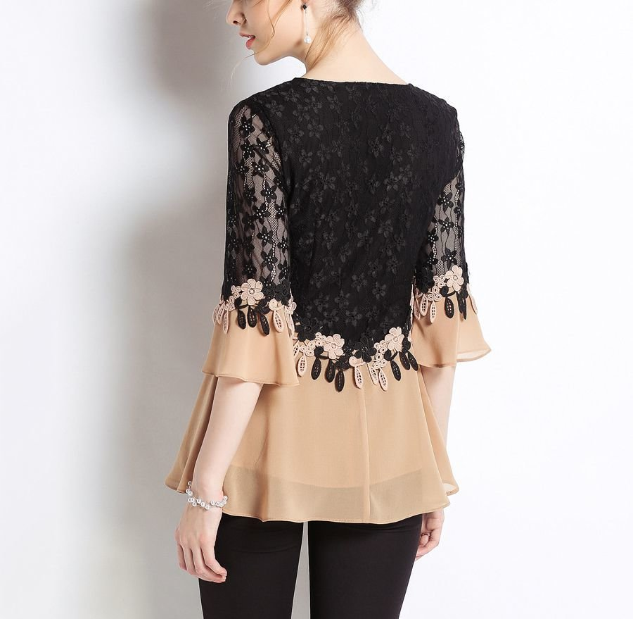 Lace and Chiffon Top with Scoop Neck