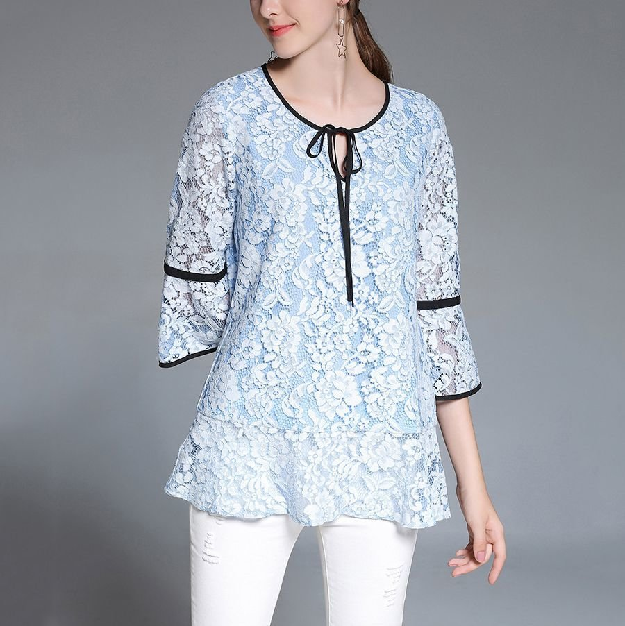 Lace Top with Ribbon Trim
