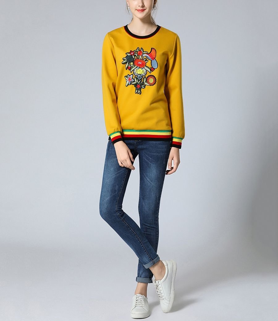 Embroidered Pullover Top with Striped Ribbing
