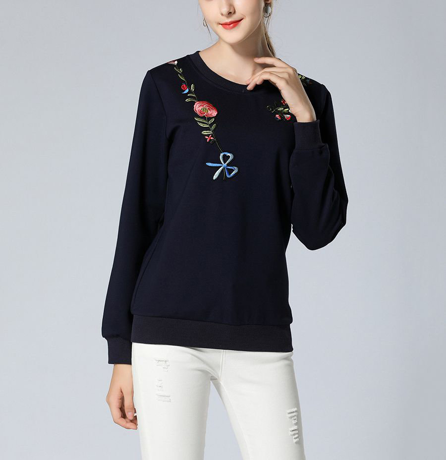 Pullover Top with Rose Embroidery Over Shoulders