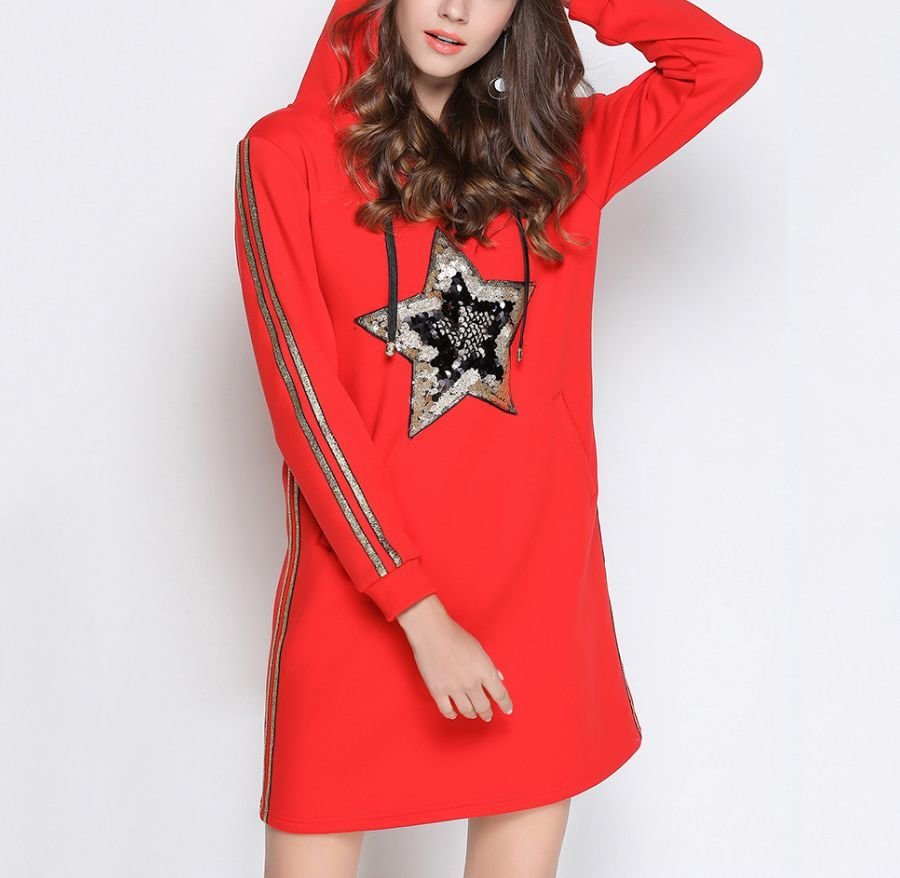 Sequined Star Hoodie Casual Dress