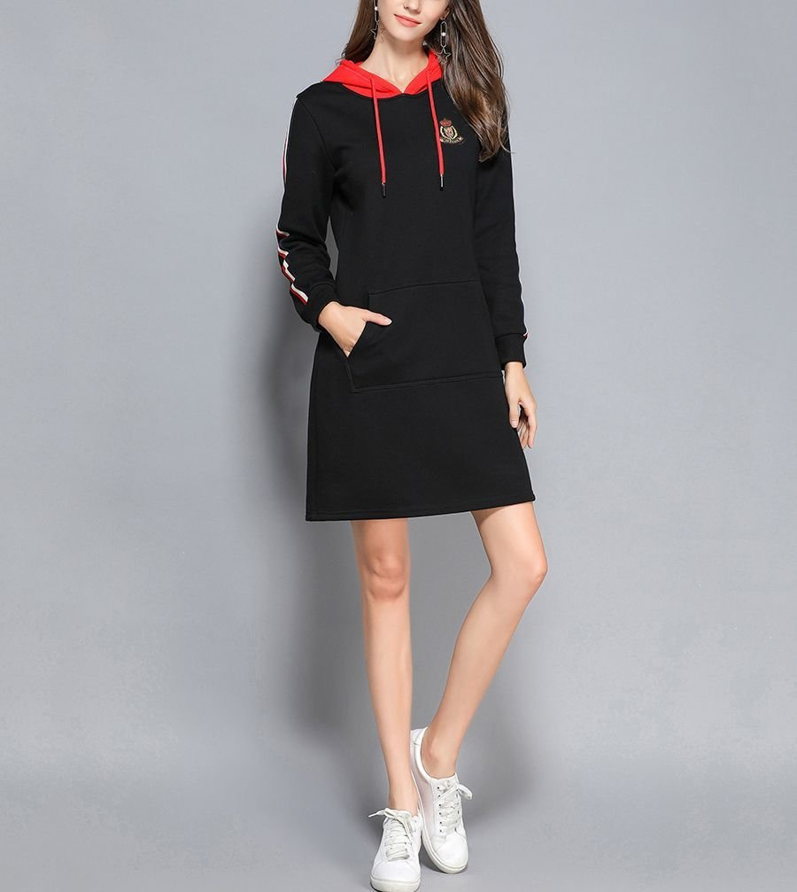 Warm Casual Dress with Contrast Drawstring Hood