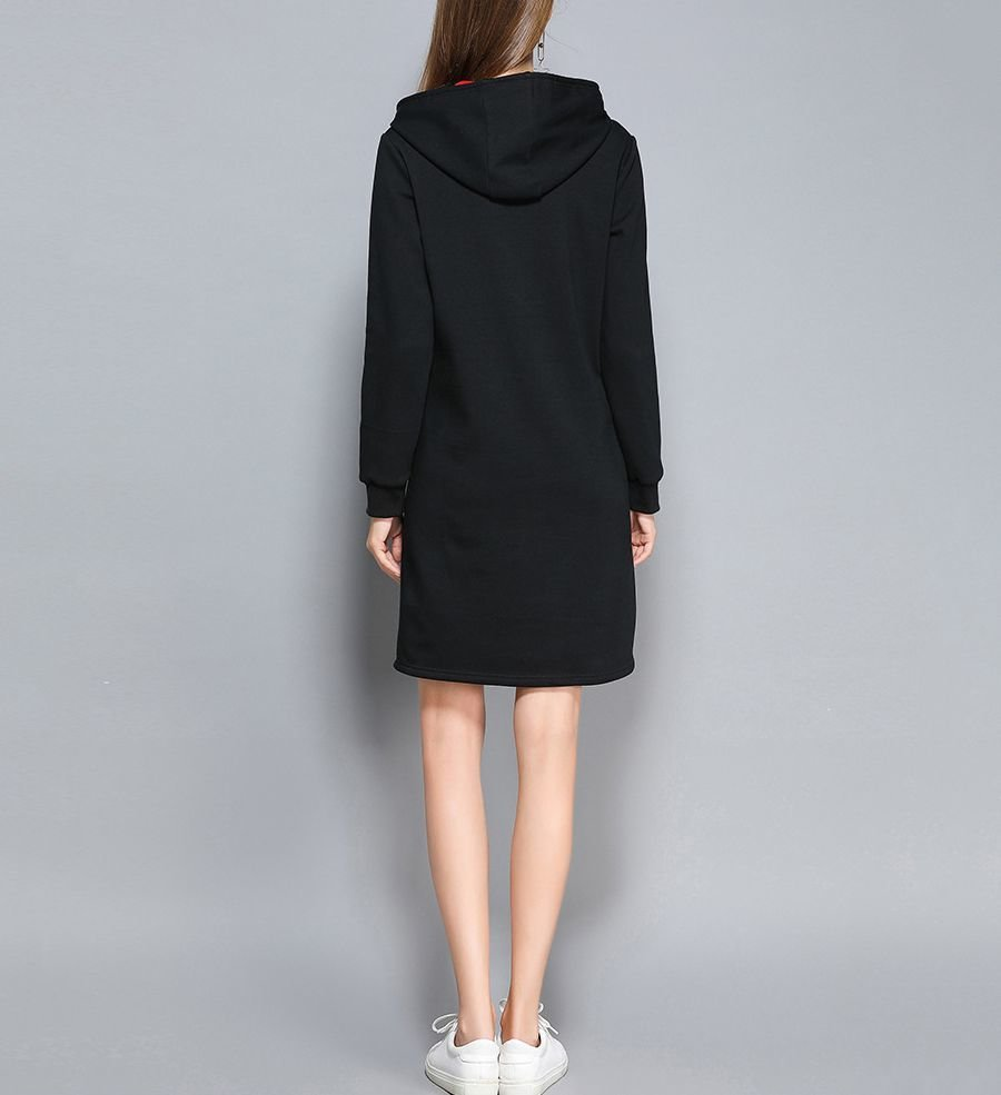 Warm Casual Dress with Lined Drawstring Hood