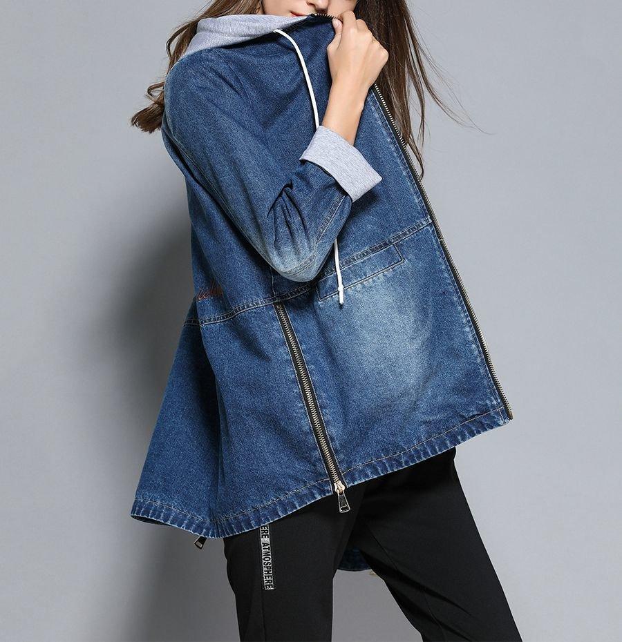 Denim Coat with Drawstring Hood