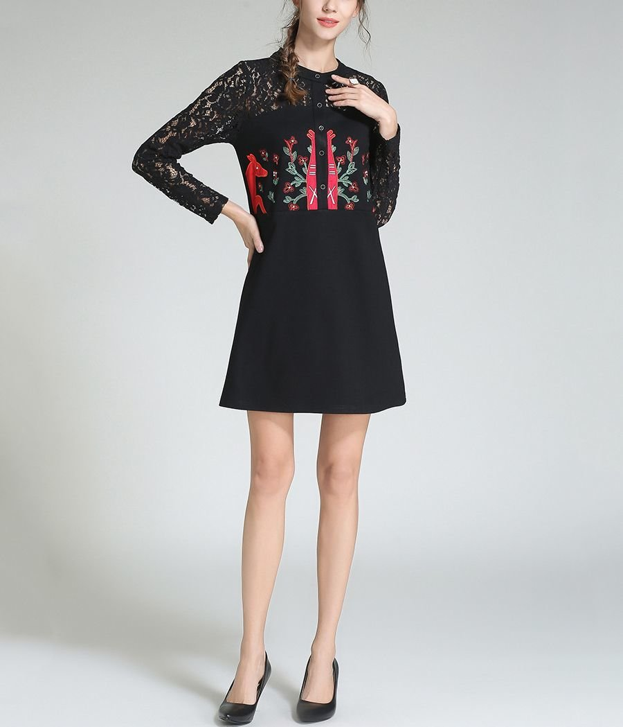 Casual Dress with Cute Flora and Fauna Embroidery