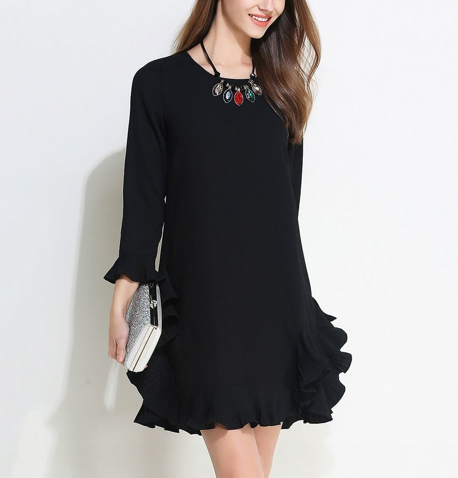 Short Cocktail Dress with Pleated Ruffles