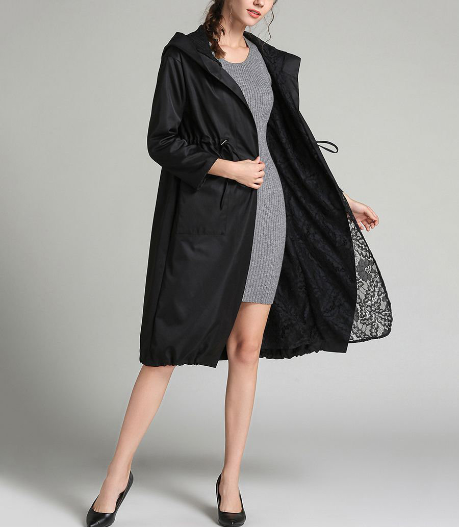Lace Lined Coat with Hood
