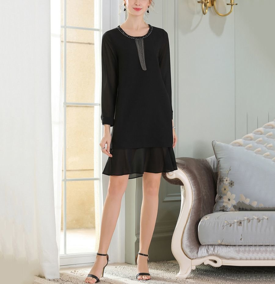 Mid-Weight Chiffon Cocktail Dress with Beaded Neckline