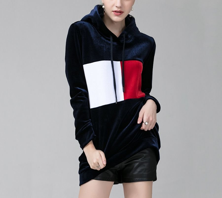 Long Velour Top with Hood