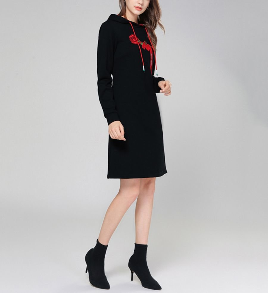 Casual Dress with Rose Embroidery